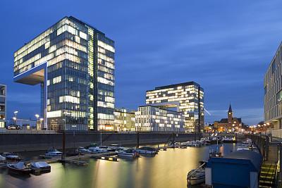 夜晚,科隆,莱茵河,水平画幅,建筑,无人,海港,蓝色,城市天际线,户外