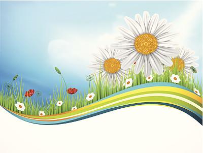 地形,春天,天空,留白,水平画幅,无人,绘画插图,夏天,阴影,户外