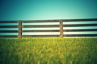 篱笆,木制,肯塔基州,天空,留白,草原,水平画幅,无人,户外,草