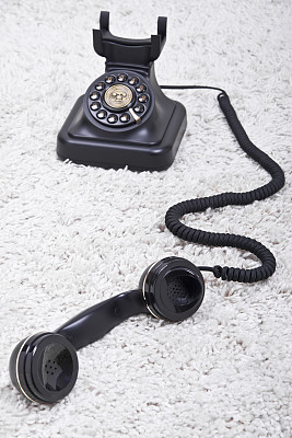 电话机,转盘拨号电话,电缆,垂直画幅,正面视角,新的,古董,耳麦,无人,古典式