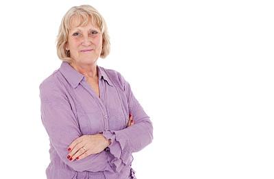 中老年女人,休闲装,开领,留白,半身像,健康,仅成年人,明亮,衬衫