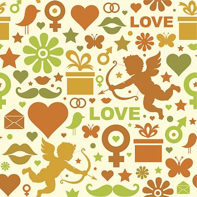 贺卡,药剂,丘比特,边框,绘画插图,符号,鸟类,古典式,伴侣,标签