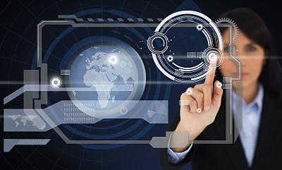 女商人,投影屏幕,数字化显示,水平画幅,注视镜头,智慧,计算机制图,计算机图形学,套装,白人
