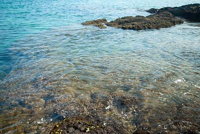蓝色,背景,太平洋海岸,干净,自然,水,水平画幅,绿色,岩石,熔岩