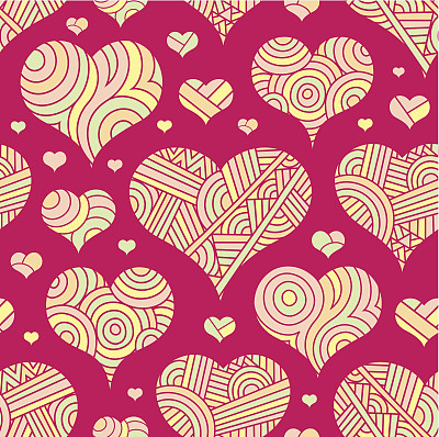 四方连续纹样,动物心脏,艺术,绘画插图,古典式,卡通,部分,情人节卡,复古风格