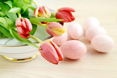 郁金香,碗,复活节彩蛋,瓷器,复活节,水平画幅,无人,符号,花束,白色