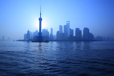 黎明,城市天际线,上海,东方明珠塔,黄浦江,外滩,黄浦区,陆家嘴,浦东,水