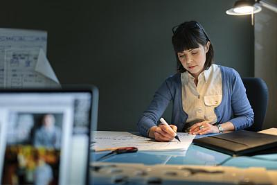 女人,现代,产品设计师,精益收集,办公室,水平画幅,工作场所,30岁到34岁,白人,新创企业