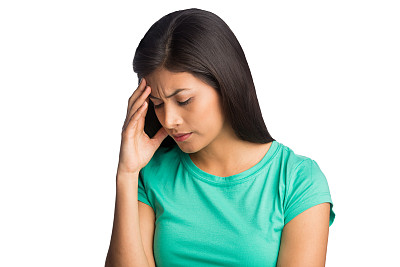 头痛,痛苦,女人,正面视角,拉美人和西班牙裔人,水平画幅,面部扭曲,情绪压力,特写,仅成年人