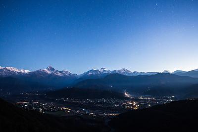 安纳普纳生态保护区,尼泊尔,道拉吉利峰,甘达基,安娜普娜山脉群峰,水平画幅,雪,无人,户外,彩色图片