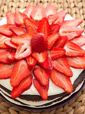 巧克力蛋糕,草莓,垂直画幅,饮食,无人,蛋糕,膳食,特写,甜点心,甜食