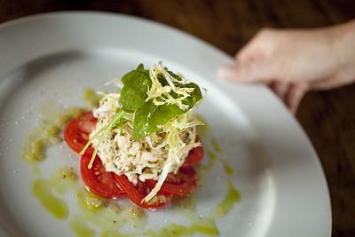 螃蟹,沙拉,水平画幅,开胃品,手,份量,盘子,摄影