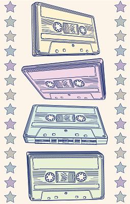盒式录音带,噪声,内置扬声器,磁带录音机,合成音乐,嘻哈,舞曲,留白,波普风,绘画插图