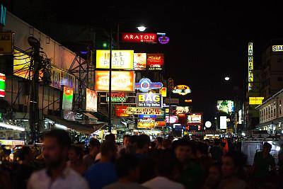 考山路,夜晚,水平画幅,人群,白人,泰国,夜生活,霓虹灯,照明设备,成年的