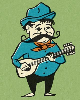 吉他,进行中,男人,个人随身用品,垂直画幅,波普风,绘画插图,人,小胡子,面部毛发