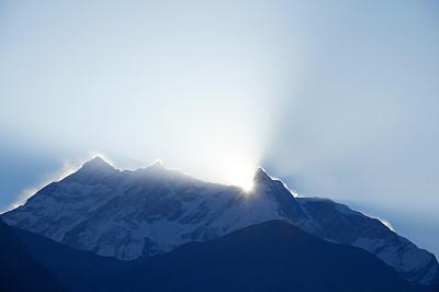 黎明,安娜普娜山脉群峰,未来,水平画幅,雪,无人,蓝色,喜马拉雅山脉,早晨,户外