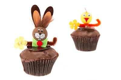 复活节,纸杯蛋糕,巧克力,小鸡,小兔子,复活节蛋糕,选择对焦,水平画幅,无人,鸟类
