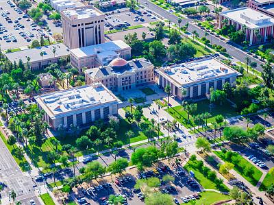菲尼克斯市,亚利桑那,航拍视角,复杂性,校园,直升机拍摄,凤凰,航空器拍摄视角,天空,高视角