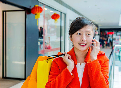 购物中心,女人,正面视角,留白,顾客,商店,不看镜头,仅成年人,现代,青年人
