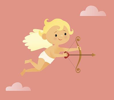 丘比特,射箭弓,箭术,天空,箭,绘画插图,动物身体部位,浪漫,翅膀,节日