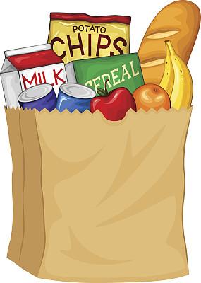 食品雜貨,紙袋,奶壺,繪畫插圖,超級市場,飲料,橙子,面包,長面包,矢量