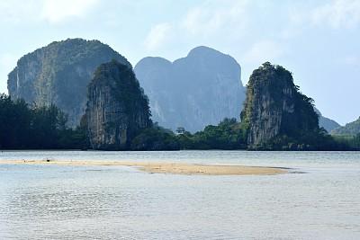 泰国,海滩,董里府,查济,喀斯特,沙洲,水,天空,水平画幅,沙子