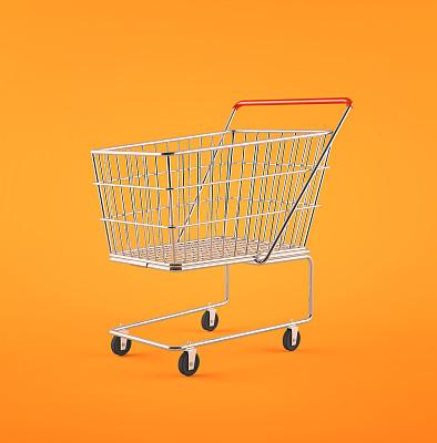 购物车,橙色背景,垂直画幅,形状,无人,下单,商店,电子商务,箭头符号,想法