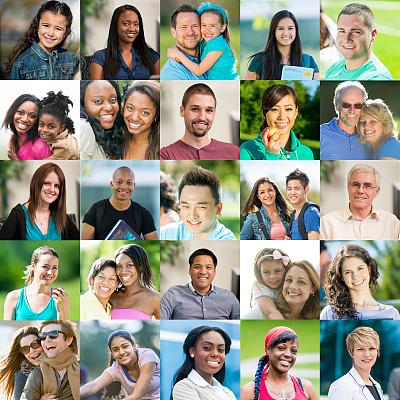 人,注视镜头,蒙太奇,多帧影像,大量人群,多样,多种族,多重曝光,头像,人的脸部
