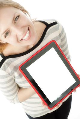 幸福,青年女人,平板电脑,显示器,垂直画幅,美,留白,半身像,易接近性,消息