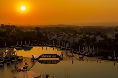 黎明,游泳池,水,天空,塞浦路斯,夜晚,早晨,夏天,棕榈树,现代