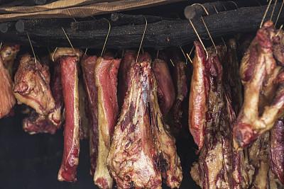 肉,自制的,干燥食品,肉干,刺柏屬叢木,芳香的,水平畫幅,無人,熟食店,線繩