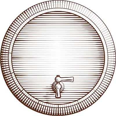 桶,矢量,木制,小桶,木版画,酒桶,啤酒泵,威士忌,雕刻术,雕刻图像
