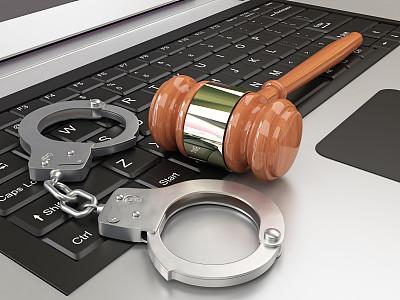手铐,概念和主题,链,笔记本电脑,水平画幅,警官,黑客,计算机键盘,概念,技术