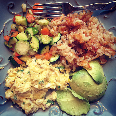有机食品,早餐,薯饼,球芽甘蓝,胡萝卜,方形画幅,葱,鸡蛋,无人