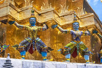 雕像,美洲角雕,玉佛寺,天空,无人,灵性,古老的,过去,过时的,雕塑