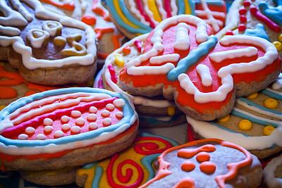 复活节,饼干,色彩鲜艳,姜饼人,糖曲奇,小兔子,选择对焦,椭圆形,水平画幅,无人