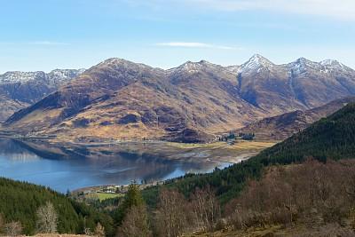 五姐妹山,薛尔峡谷,杜伊斯湖,留白,褐色,水平画幅,无人,苏格兰,户外,湖