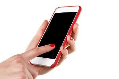 女人,手机,分离着色,食指,电子记事本,留白,新的,水平画幅,电话机,干净
