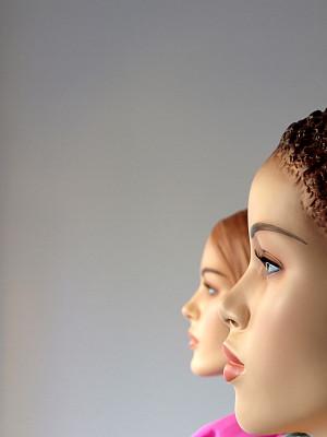 人造模特,两个人,女性,垂直画幅,女人,零售展示,人,商店,塑胶,特写