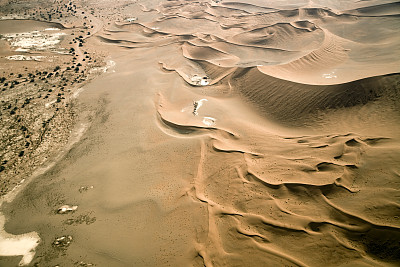 沙丘,航拍视角,纳米比亚沙漠,苏丝斯黎,纳米布沙漠,盐滩,褐色,水平画幅,高视角,山