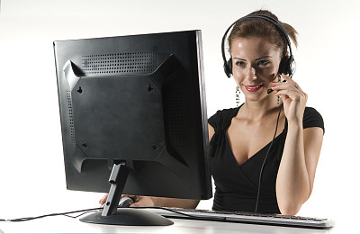 女商人,总机人员,办公室,美,耳麦,水平画幅,电话机,美人,秘书,忙碌
