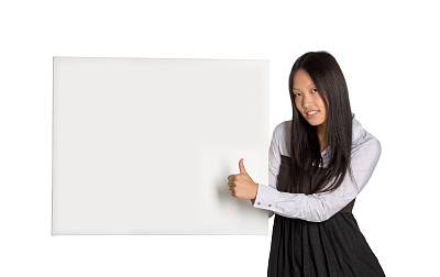 布告栏,亚洲,女孩,自然美,背景分离,东亚人,拿着,想法,中国人,影棚拍摄