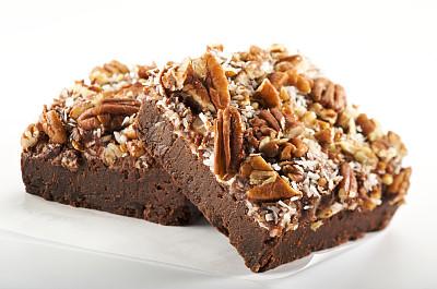 布朗尼,坚果,美味,奶油巧克力软糖,美洲山核桃,选择对焦,褐色,水平画幅,无人,椰子