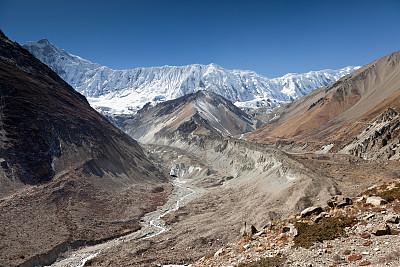 尼泊尔,安纳普纳生态保护区,水,天空,水平画幅,无人,喜马拉雅山脉,岩层,户外,干的