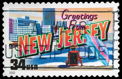 新泽西,州,化妆舞会服,明信片,邮戳,美国,水平画幅,古典式,黑色背景