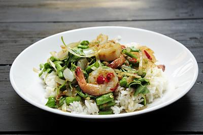 餐具,水平画幅,无人,椒类食物,海产,图像,特写,泰国,罗勒,蔬菜