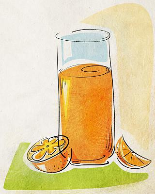 橙汁,垂直画幅,饮食,绘画艺术品,橙色,水果,无人,绘画插图,玻璃