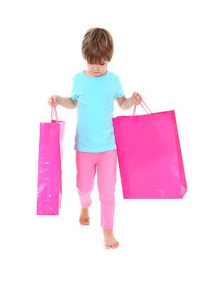 垂直画幅,全身像,白色背景,拿着,背景分离,女孩,影棚拍摄,概念,仅女孩,购物袋