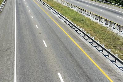 空的,美国州际公路,公路,双黄实线,灵感,水平画幅,无人,透视图,草,特写