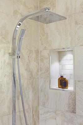 淋浴头,巨大的,托架,皂液器,垂直画幅,褐色,新的,浴室,墙,无人